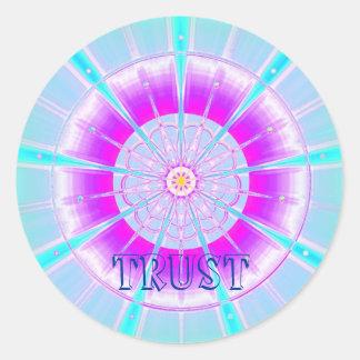 Confianza (pegatina de la virtud) pegatina redonda