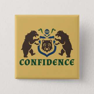 Confidence Bear Blazon Pinback Button