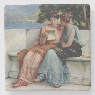 Confidences oil on canvas stone beverage coaster