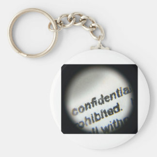Confidencial prohibido llavero redondo tipo pin