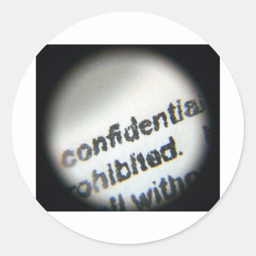 Confidencial prohibido pegatina redonda