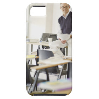 Confident professor leaning on desk in classroom iPhone SE/5/5s case