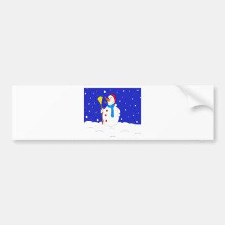 Confident-Snow-Man-Scene Bumper Sticker