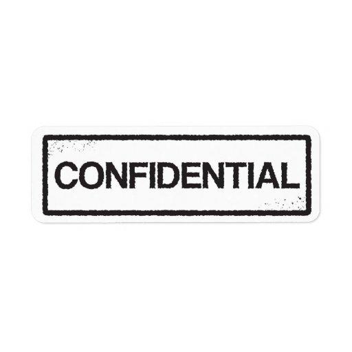 confidential black stamp label