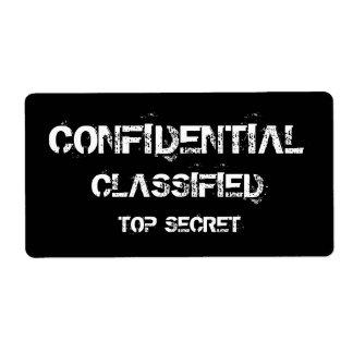 CONFIDENTIAL CLASSIFIED TOP SECRET LABELS