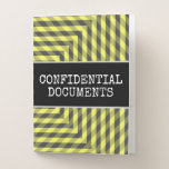 "[ Thumbnail: ""Confidential Documents"" + Yellow & Gray Pattern Pocket Folder ]"