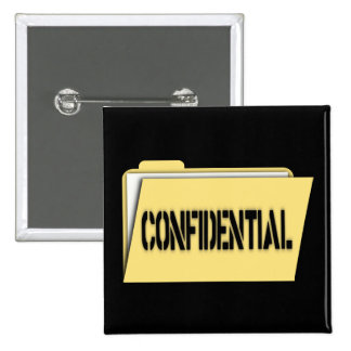 Confidential Folder With Paper Pinback Buttons