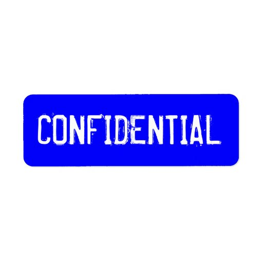 CONFIDENTIAL in white text on blue background Label