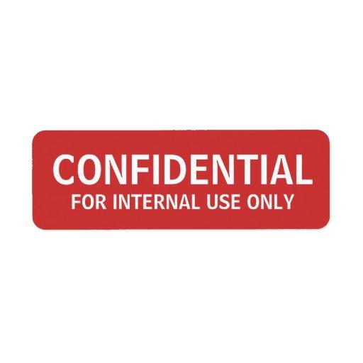 CONFIDENTIAL labels | Zazzle