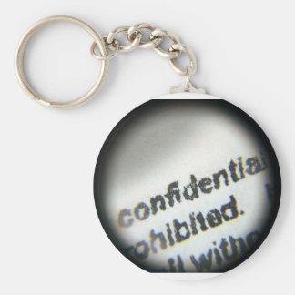 Confidential Prohibited Basic Round Button Keychain