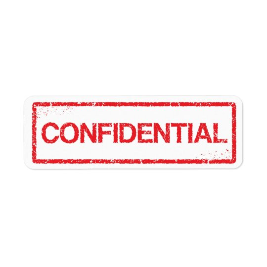 Confidential red distressed stamp label