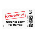 Confidential stamp surprise party postage stamps