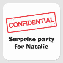 Confidential, surprise party for [name] envelope seal stickers