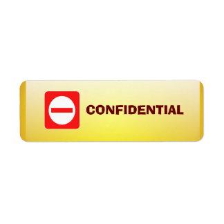 Confidential Top Secret Warning Sticker Return Address Labels