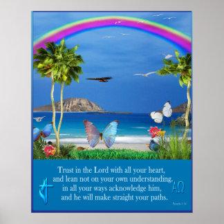 Confíe en en el 3:5 de los proverbios del señor - póster