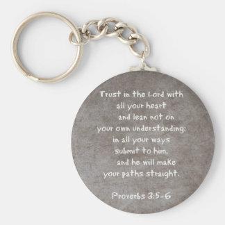 Confíe en en el señor con todos sus proverbios 3 d llavero redondo tipo pin