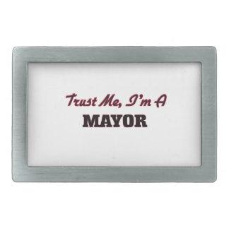 Confíe en que yo es alcalde hebilla cinturon rectangular