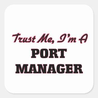 Confíe en que yo es encargado del puerto pegatinas cuadradas personalizadas