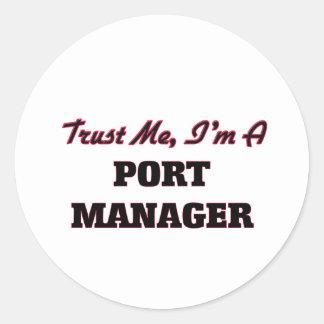 Confíe en que yo es encargado del puerto etiqueta redonda