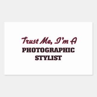 Confíe en que yo es estilista fotográfico pegatina rectangular