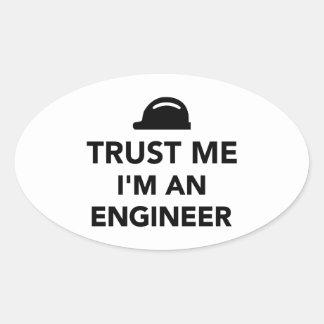 Confíe en que yo es ingeniero calcomanías de ovales personalizadas