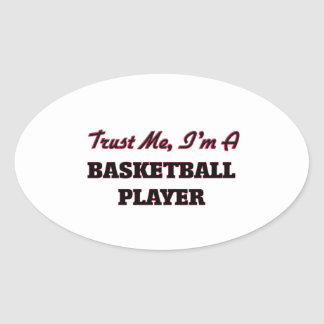 Confíe en que yo es jugador de básquet calcomania de óval personalizadas