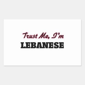 Confíe en que yo es libanés pegatina rectangular
