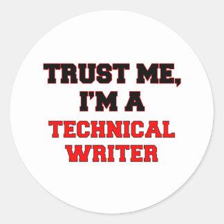Confíe en que yo es mi escritor técnico pegatinas redondas