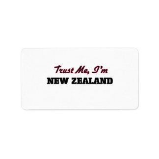 Confíe en que yo es Nueva Zelanda Etiquetas De Dirección