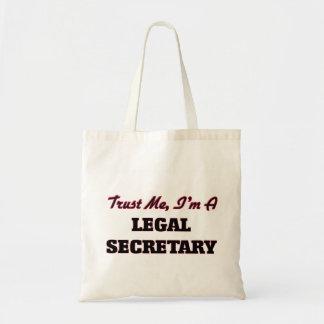 Confíe en que yo es secretaria legal bolsa tela barata