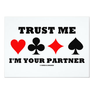 """Confíe en que yo es su socio (cuatro juegos de la invitación 5"""" x 7"""""""