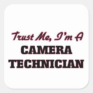 Confíe en que yo es técnico de la cámara calcomanías cuadradas