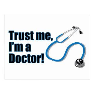 Confíe en que yo es un doctor Stethoscope Postcard Tarjetas Postales