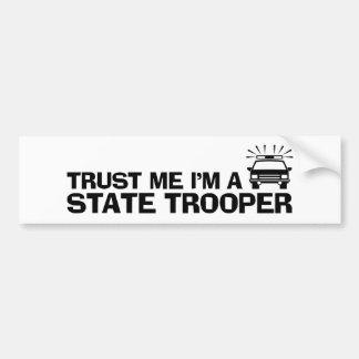 Confíe en que yo es un soldado de caballería estat pegatina para auto