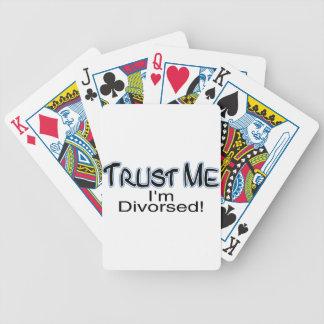 Confíe en que yo está divorciado cartas de juego