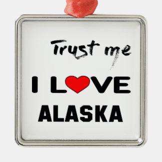 Confíeme en amor ALASKA de I Adorno Navideño Cuadrado De Metal