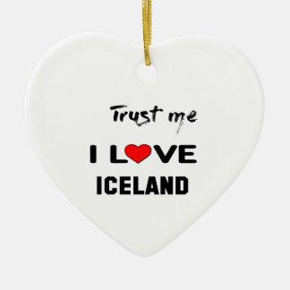 Confíeme en amor Islandia de I Adorno Navideño De Cerámica En Forma De Corazón