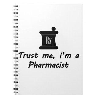 Confíeme en m un farmacéutico libros de apuntes con espiral