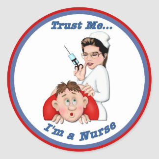 Confíeme en - soy enfermera etiqueta redonda