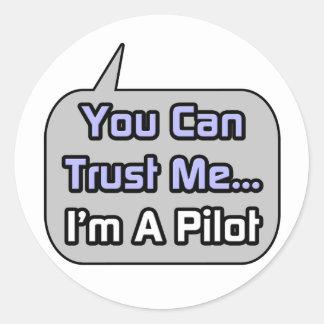 Confíeme en Soy piloto Pegatinas Redondas