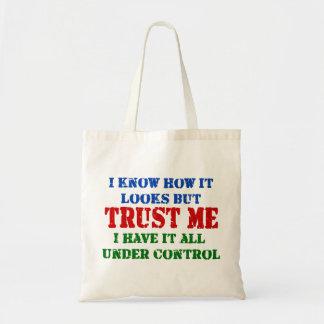 Confíeme en - todo bajo control bolsa tela barata