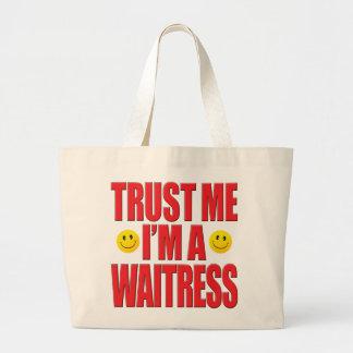 Confíeme en vida de la camarera bolsas lienzo