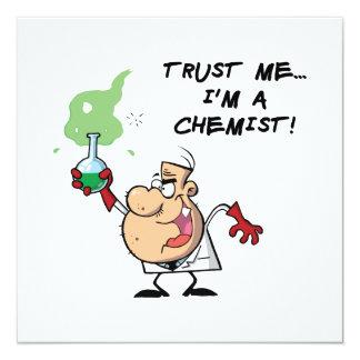 """Confíeme en, yo son un químico invitación 5.25"""" x 5.25"""""""