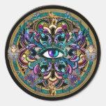 Confíese en ~ los ojos de la mandala del mundo etiqueta redonda