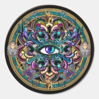 Confíese en ~ los ojos de la mandala del mundo pegatina redonda