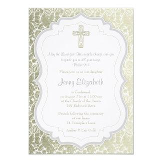 Confirmación de plata de la cruz del damasco del invitacion personalizada