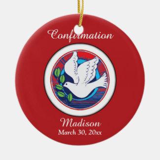 Confirmación, paloma colorida, ornamento redondo adorno navideño redondo de cerámica