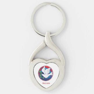 Confirmación, paloma colorida, regalo llavero plateado en forma de corazón
