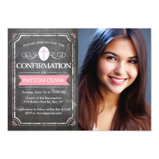 Confirmation Borders Pink 5x7 Paper Invitation Card