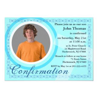 Confirmation Boy Invitation Blue